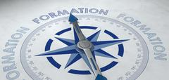 3d render of compass pointing to formation Stock Illustration