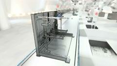 Robotic Arm Assembling 3d Printer On Conveyor Belt Stock Footage