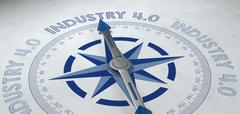 Compass pointing to industrie 4.0 phrase Stock Illustration