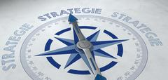 3d render concept about strategy. German compass Stock Illustration