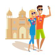 Couple Selfie on Summer Vacation in India Stock Illustration