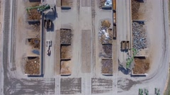 Aerial view over industrial place. Stock Footage