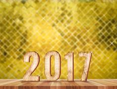 2017 wood number in perspective room with sparkling blur mosaic golden tile a Stock Illustration
