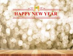 Happy New Year word in perspective room with golden sparkling bokeh lights an - stock illustration