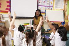 Teacher Asks Elementary School Pupils Question In Classroom Stock Photos