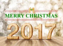 Merry Christmas 2017 word in perspective room with gold blur sparkling bokeh  Stock Illustration