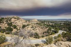 Los Angeles San Fernando Valley with Fire Smoke Sky Stock Photos