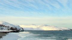 Cloudy sky over the Barents Sea. Teriberka, Murmansk region, Russia. Full HD Stock Footage
