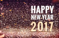 Happy New 2017 year in vintage color abstract glitter background, Holiday con Stock Illustration