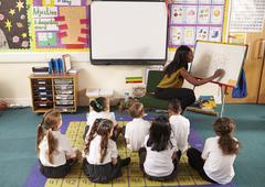 Teacher With Whiteboard In Elementary School Maths Class Stock Photos