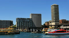 Australia Sydney ferry approaches Circular Quay Stock Footage