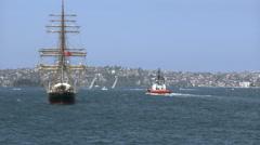 Australia Sydney harbor tall ship Stock Footage