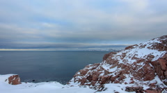 Cloudy sky over the Barents Sea. Teriberka, Murmansk region, Russia. Full HD Stock Footage