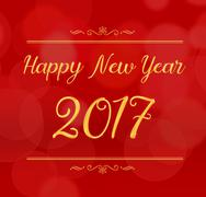 Happy new year 2017 with decoration on red color abstract bokeh light backgro - stock illustration