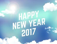Happy new year 2017 with abstract blue background with cloud and sunshine,Hol Stock Illustration