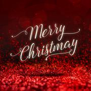 Merry Christmas word at red sparkling glitter perspective background,Holiday  - stock illustration