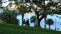 Australia Sydney park bench and harbor Stock Footage