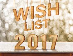 Wish list 2017 wood texture on marble table with sparkling bokeh wall,holiday - stock illustration
