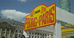 Paris,France July 2016 - Finalists cross the finish in the Peking to Paris race Stock Footage