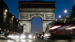 Paris France and the Iconic Arc De Triomphe - Long exposure Time Lapse Stock Footage