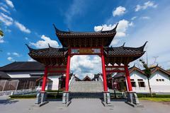 gateway of retro China town, Suphanburi - stock photo