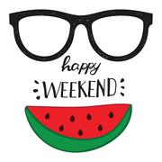 Happy weekend. Positive handwritten design cards, t-shirt, posters, social media Stock Illustration