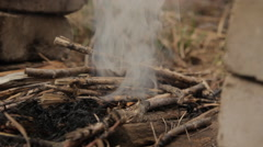 Flames of wood ember. With dry hay and flash fire. Stock Footage