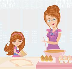 Grandma baking cookies with her granddaughter Stock Illustration