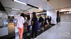 People buy subway tickets using special tickets machines. Stock Footage