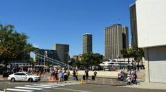 Australia Sydney people crossing street Stock Footage