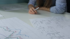 Various kinds of graphs and schemes lie on table in office Stock Footage