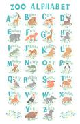Cute vector zoo alphabet. Funny cartoon animals. Letters. Learn to read - stock illustration