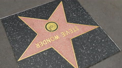 Los angeles hollywood walk of fame stevie wonder star 4k round usa Stock Footage