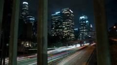 Nighttime DTLA Freeway Stock Footage