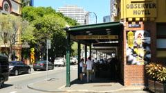 Australia Sydney Street with sidewalk and bistro Stock Footage