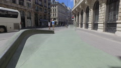 Empty skatepark in paris france's downtown Stock Footage