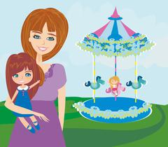 Happy daughter on carousel - stock illustration
