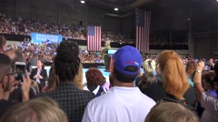 """Hillary Clinton At Rally In Tampa Florida with audio """"Donald Trump"""" Stock Footage"""