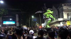 Ogoh-Ogoh parade preceding Nyepi in Denpasar, 8th of March 2016 Stock Footage