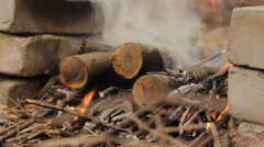 Burning wooden logs with smoke and fire. Stock Footage