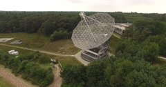 Radio Telescope filmed with a drone with a drone air to air in the picture Stock Footage
