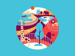Zoo flat illustration - stock illustration