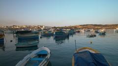 Panoramic shot of Marsaxlokk harbor Stock Footage
