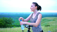 Attractive Young Female Model Drinking Water Bottle Sunset Stock Footage
