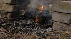 Burning wooden logs with flash fire. Stock Footage