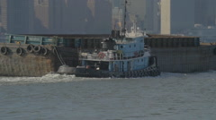 GARBAGE BARGE EAST RIVER Stock Footage