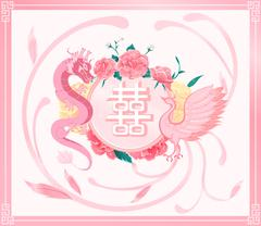 Chinese wedding card invitation,pink dragon ,phoenix ,double happiness text Piirros
