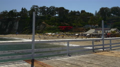 Los angeles summer famous malibu beach pier walking panorama 4k usa Stock Footage