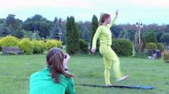 Girl Doing the Swing Leg. Stock Footage