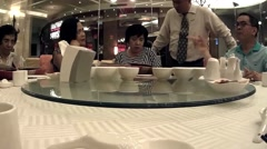 Round Table at Chinese restaurant Stock Footage